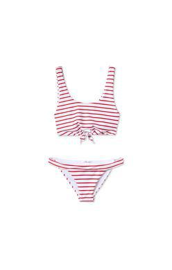 White and Red Stripe Two Piece Swimsuit