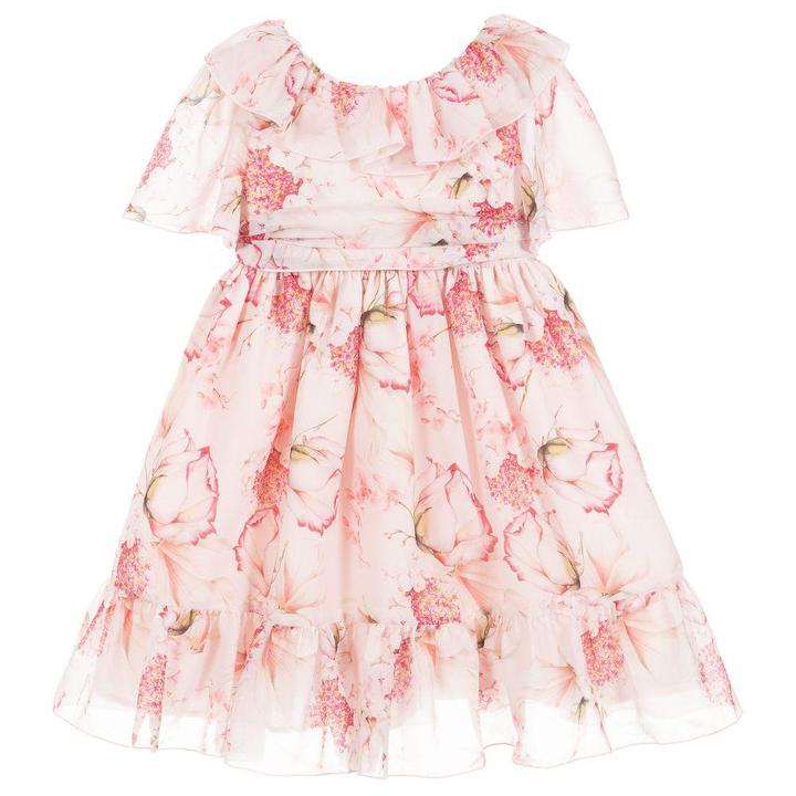 Pink Flowers Chiffon Dress