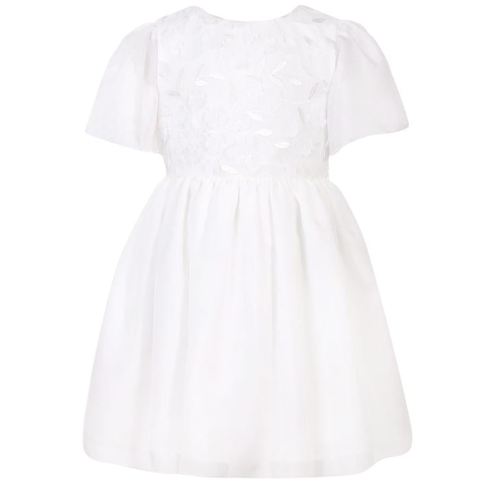White Flowers Chiffon Dress