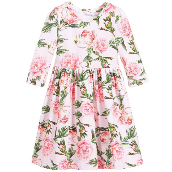 Pink Flowers Cotton Jersey Dress