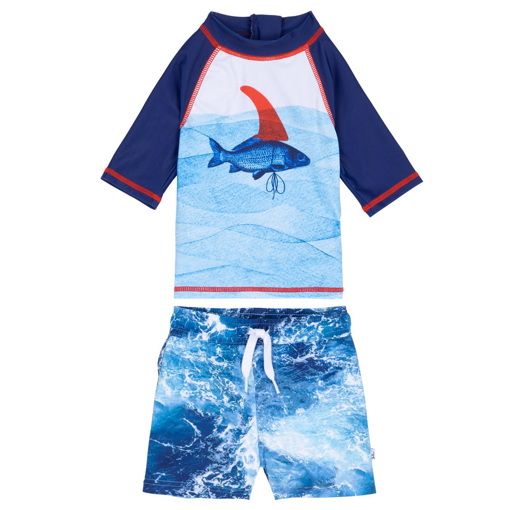 Fish Print RashGuard andSwim Short Set