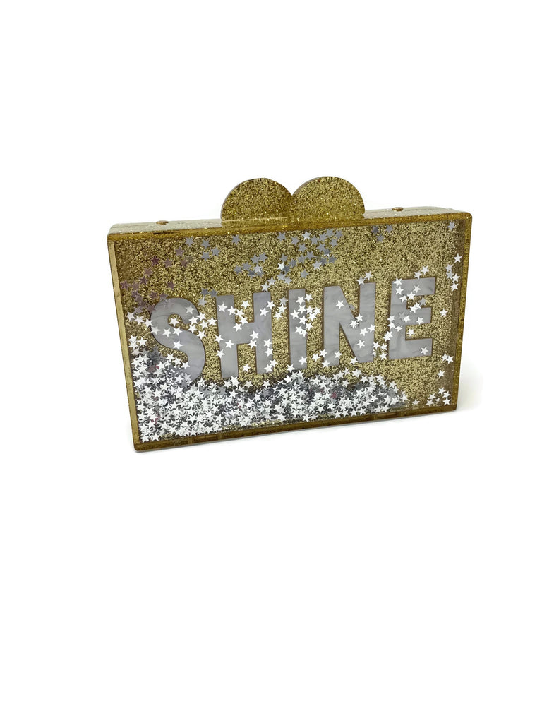Gold Glitter Shine Acrylic Box Clutch Bag