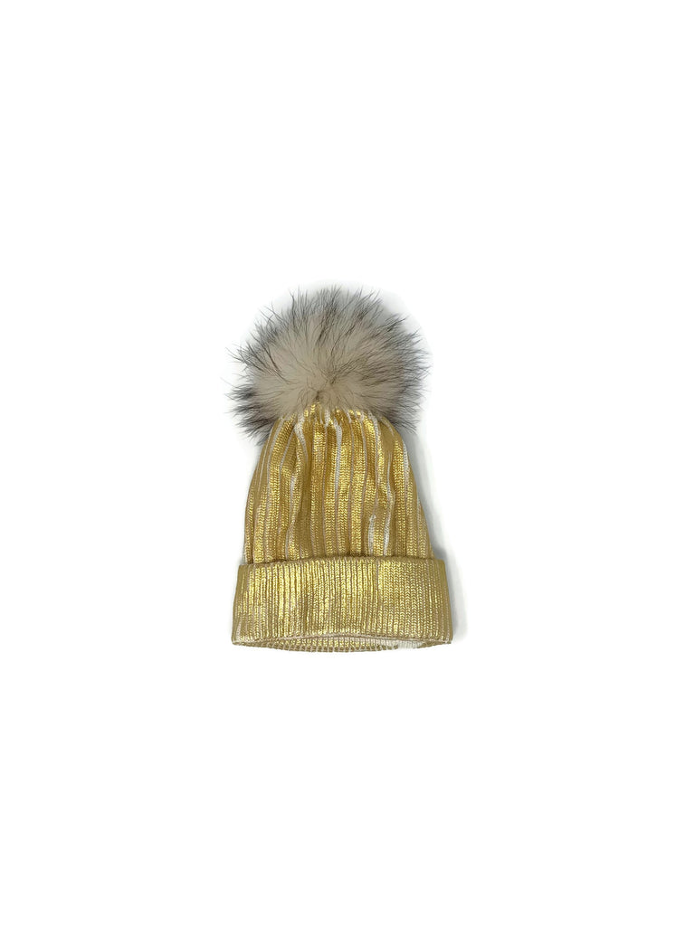 Gold Metallic Rib Knit & Fox Fur Hat