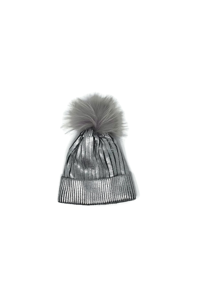 Silver Metallic Rib Knit & Fox Fur Hat