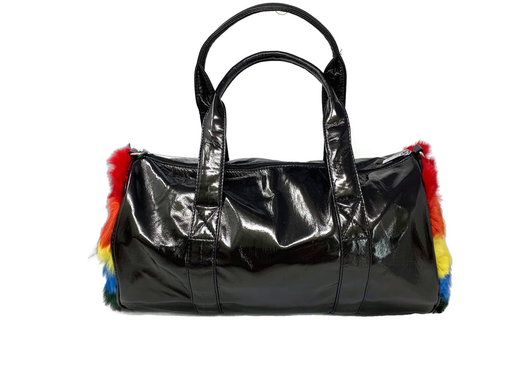 Black  Rainbow Fur Duffle