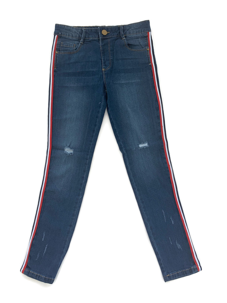 Denim Pants with Side Stripes