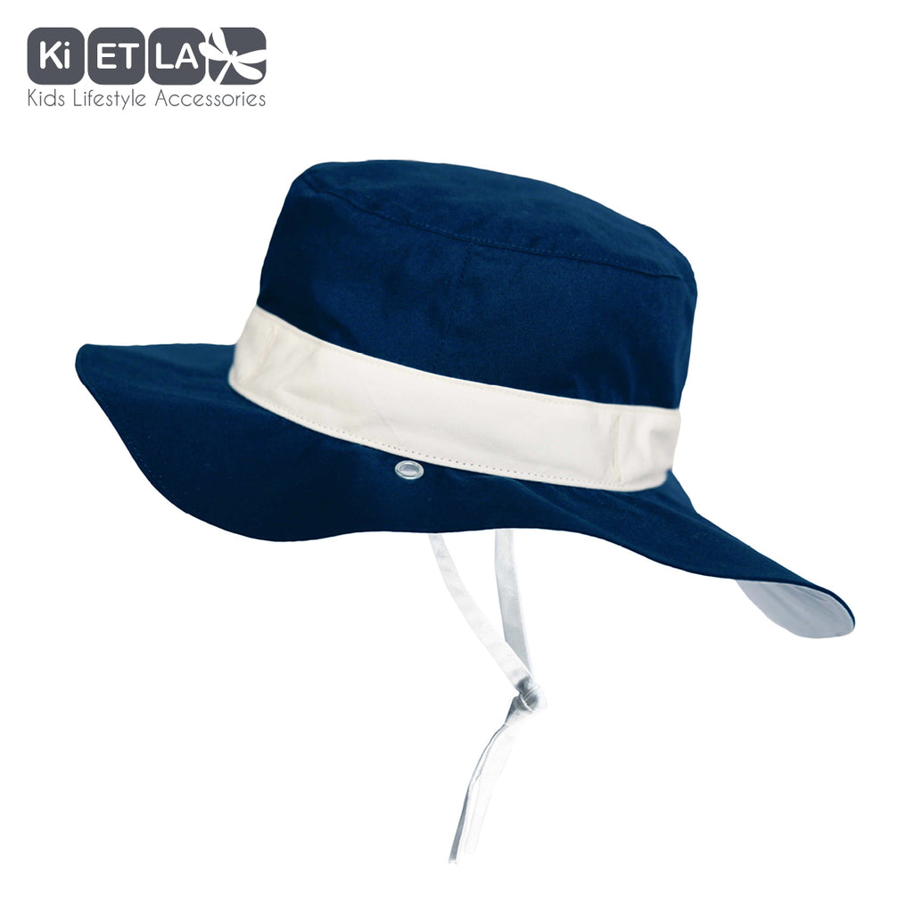 Kapel Anti-UV Reversible Sun Hat in Panama Navy (baby sizes)