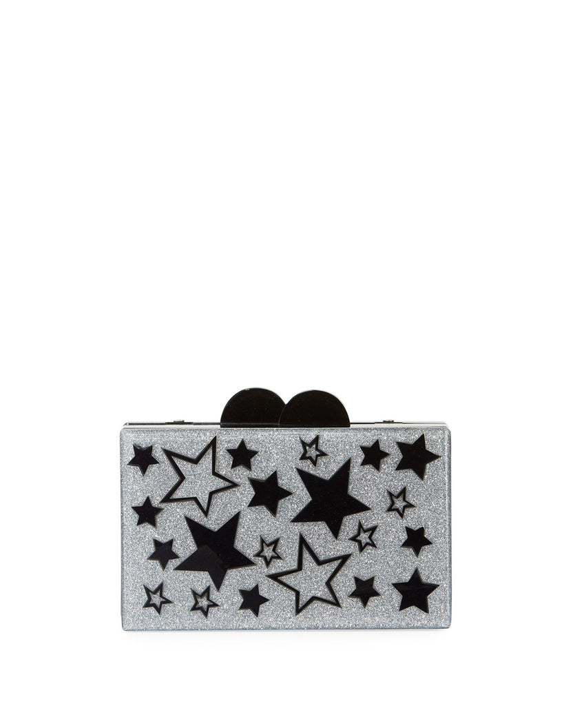 Stars Glitter Acrylic Box Clutch Bag