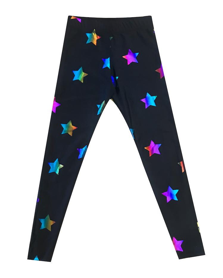 Rainbow Stars Foil Leggings