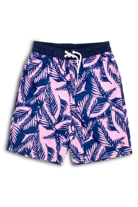 Navy and Pink Palm Reader Swim Shorts