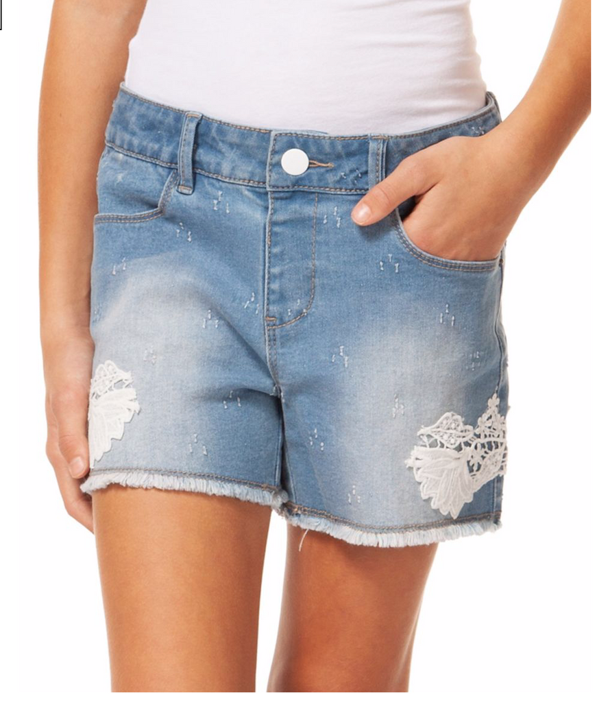 Dex  Denim Shorts With Crochet