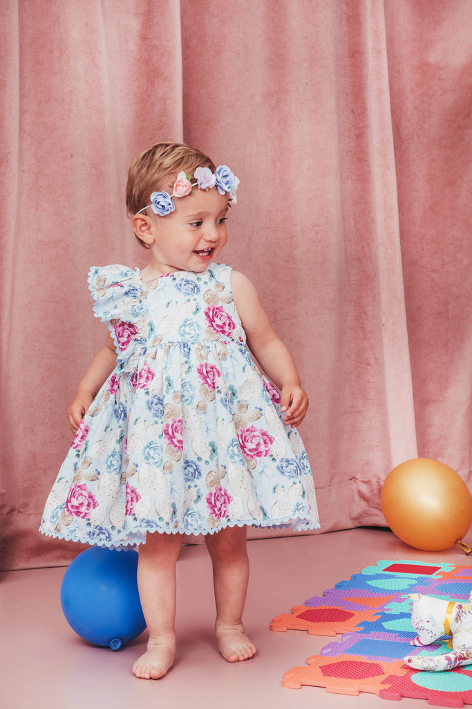 Baby Blue Flower Dress and Bloomers Set
