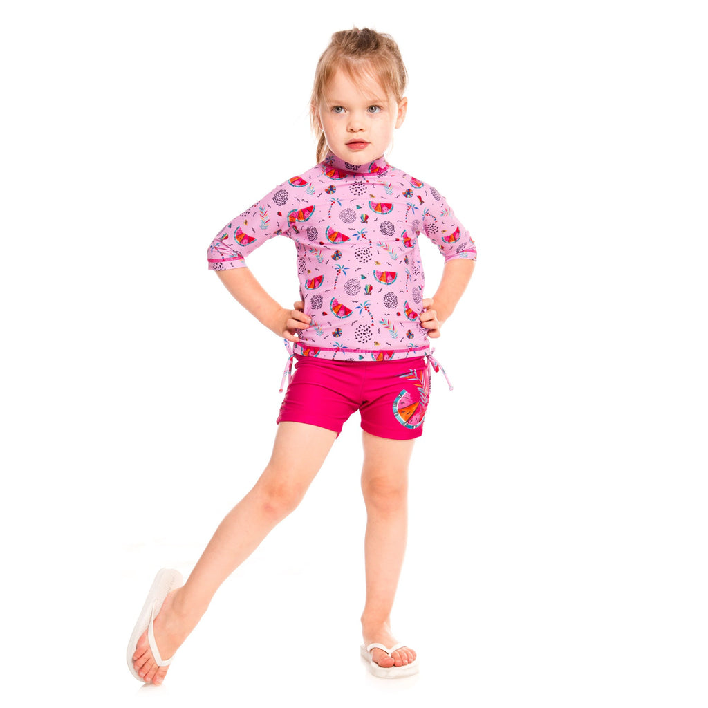Pink Rashguard and Swim Shorts Set Baby