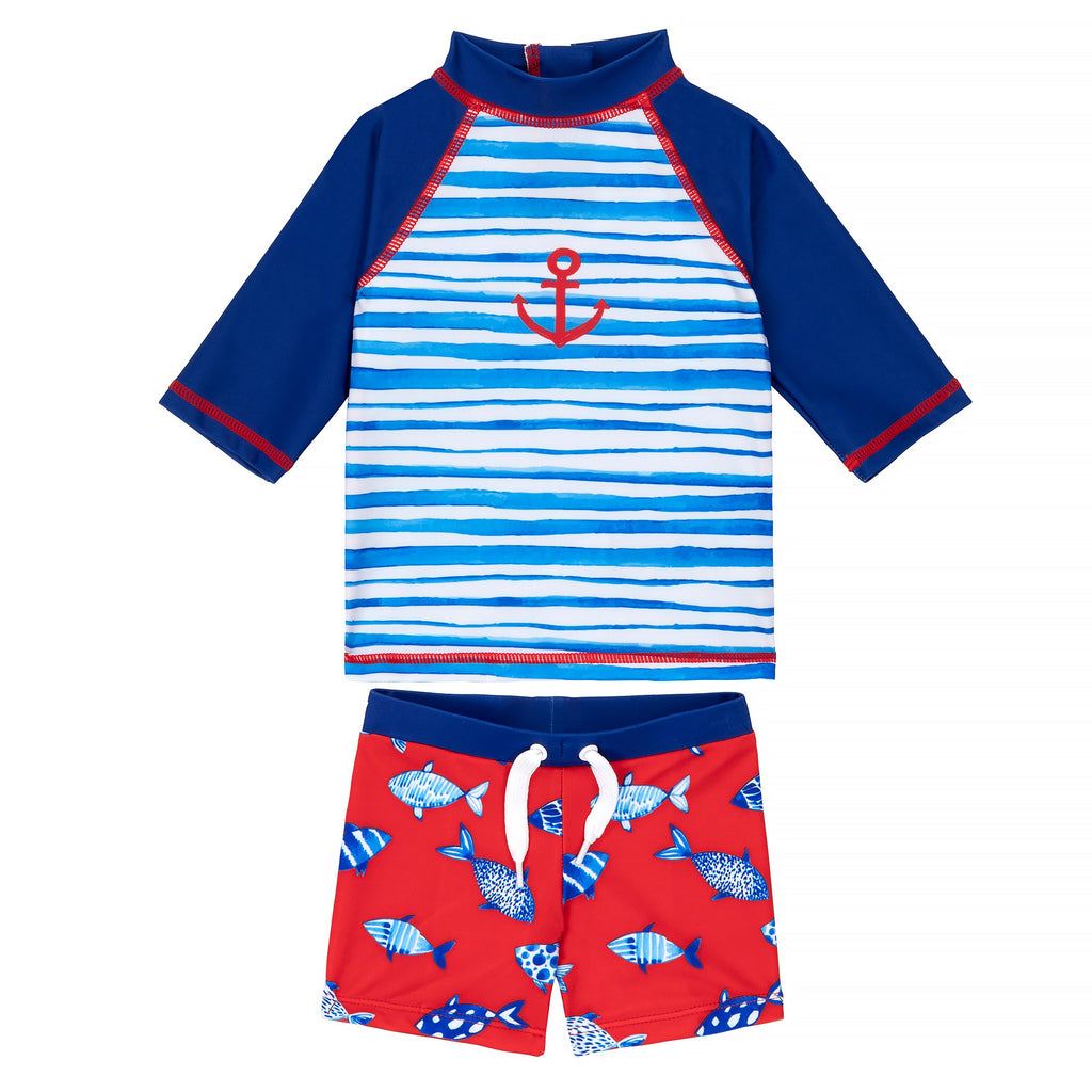 Navy Striped Rashguard and Swim Shorts Set Baby