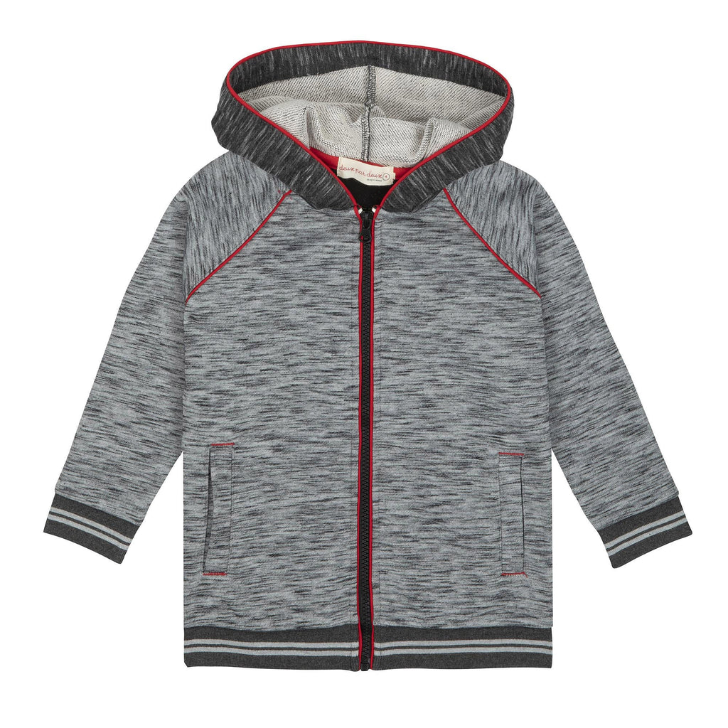 Grey Mix French Terry Zipper Hoodie