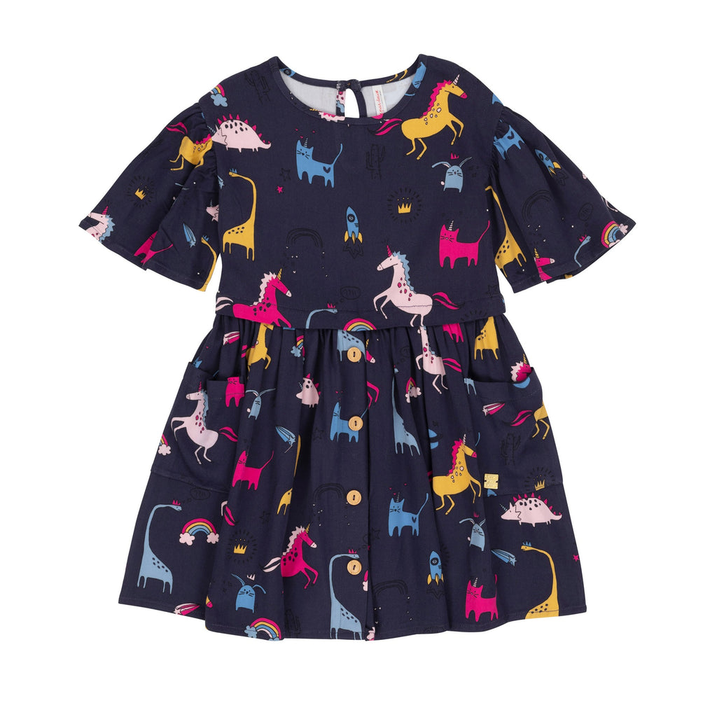 Unicorns & Dinosaur Print Dress