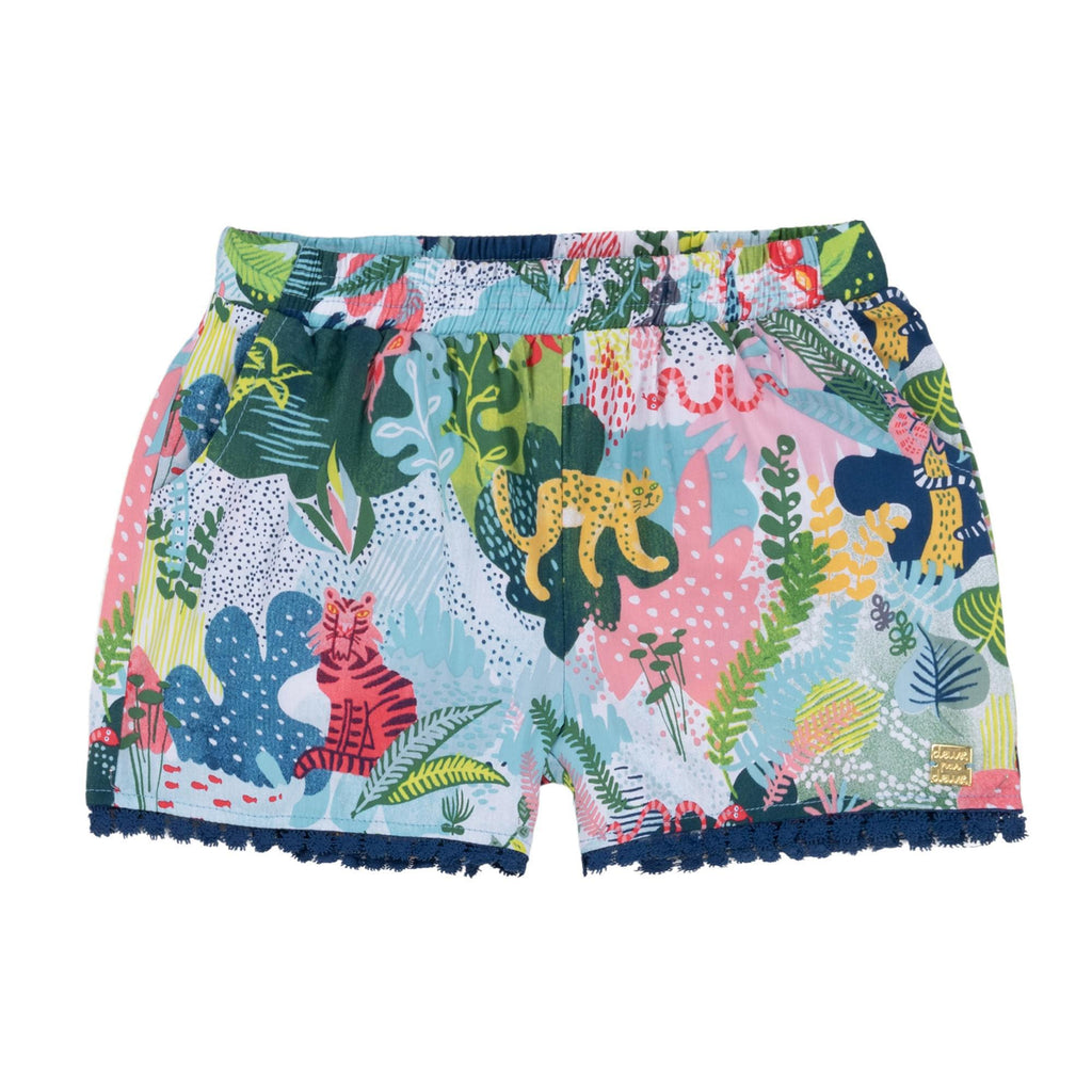 "Deux Par Deux PRINTED ""QUEEN OF THE JUNGLE"" VISCOSE SHORT, GIRL"