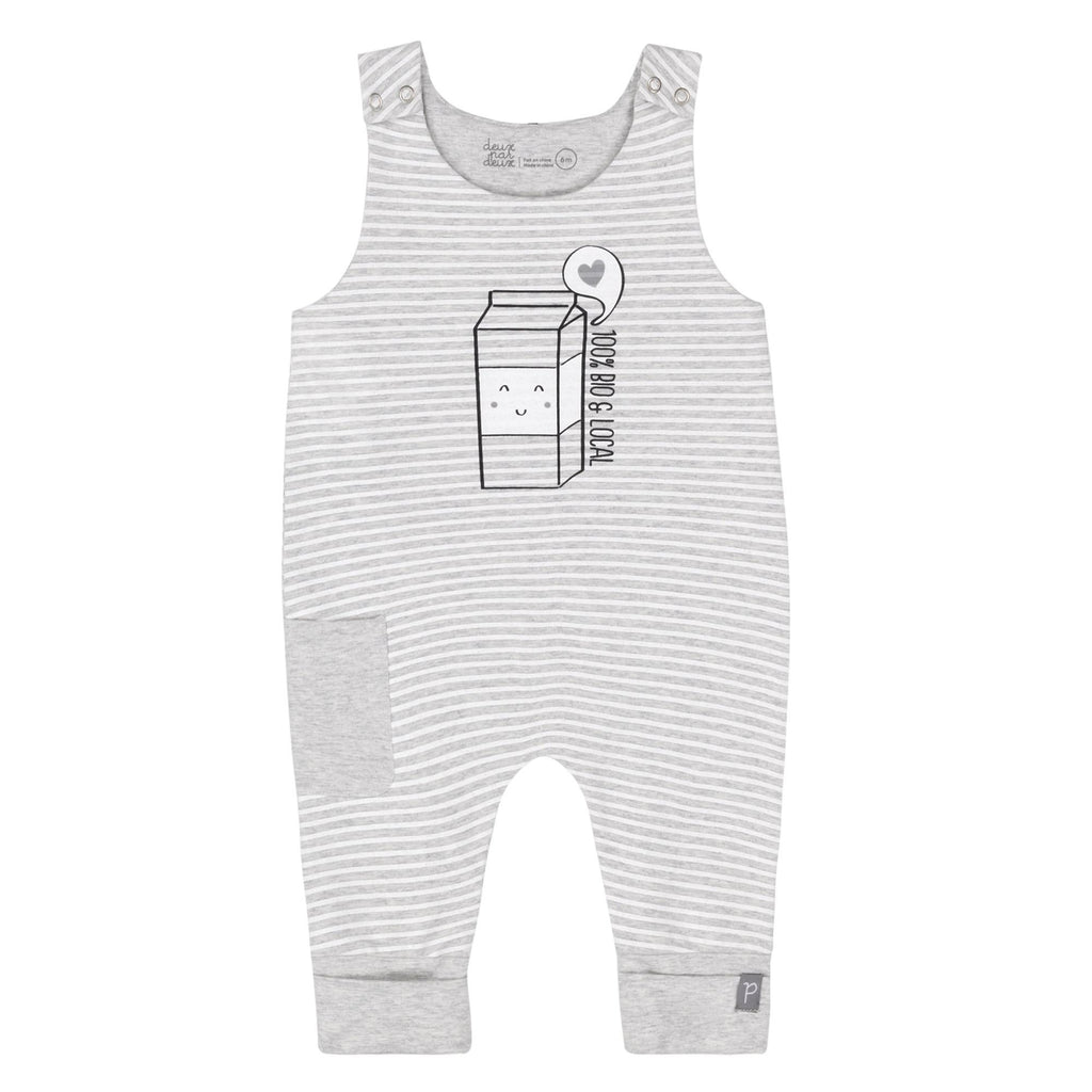 "Deux Par Deux Organic Cotton  ""100% BIO & LOCAL"" GREY STRIPED EVOLUTIVE OVERALLS, BABY UNISEX"