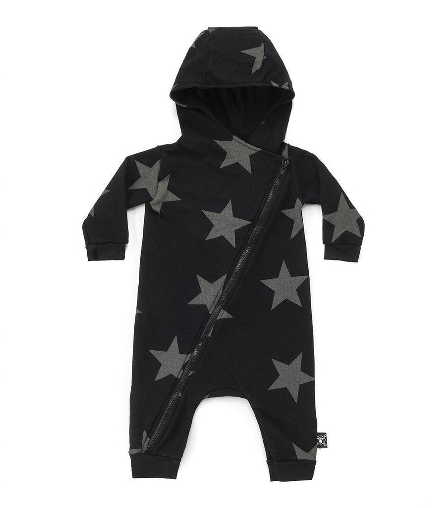Star Zipped Hooded Overall Black