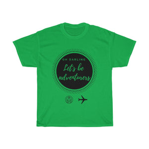 Let's be adventurers T-shirt (black graphic) - Beeredee Irish Green / S