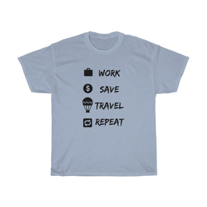 Work Save Travel Repeat T-shirt - Beeredee Light Blue / S