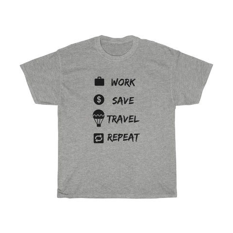 Work Save Travel Repeat T-shirt - Beeredee Sport Grey / L