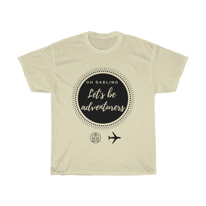 Let's be adventurers T-shirt (black graphic) - Beeredee Natural / S