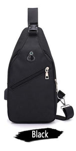 Canvas Shoulder Bag - with usb charger - Beeredee Black