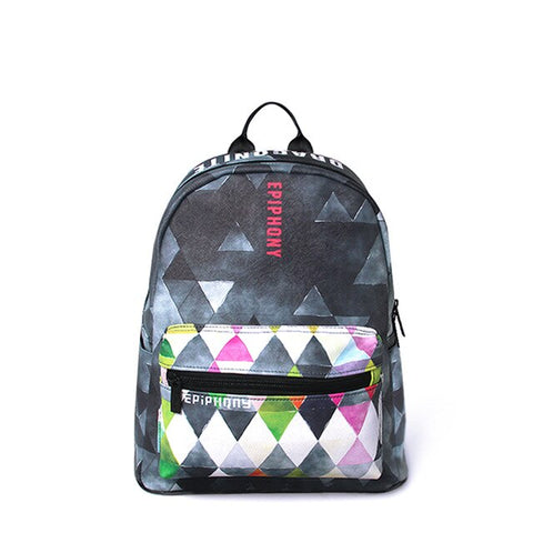 Geometric Backback for women - vegan leather (PU) - Beeredee Green/pink