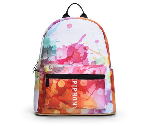 Watercolour Printing Backpack for Women - vegan leather  (PU) - Beeredee [variant_title]