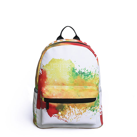 Watercolour Printing Backpack for Women - vegan leather  (PU) - Beeredee Yellow