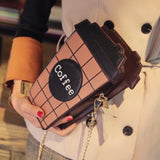 Coffee cup shaped  chain shoulder bag -  pu leather - Beeredee [variant_title]