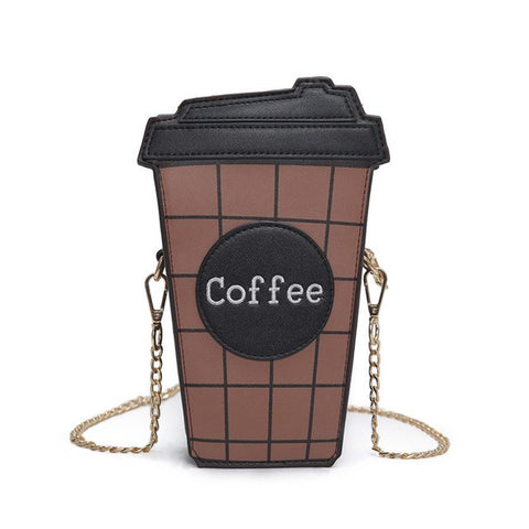 Coffee cup shaped  chain shoulder bag -  pu leather - Beeredee Black