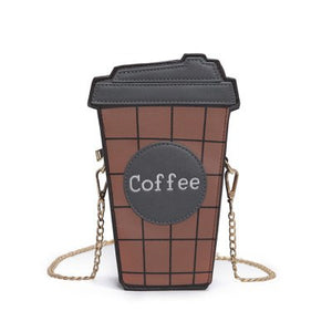 Coffee cup shaped  chain shoulder bag -  pu leather - Beeredee Gray