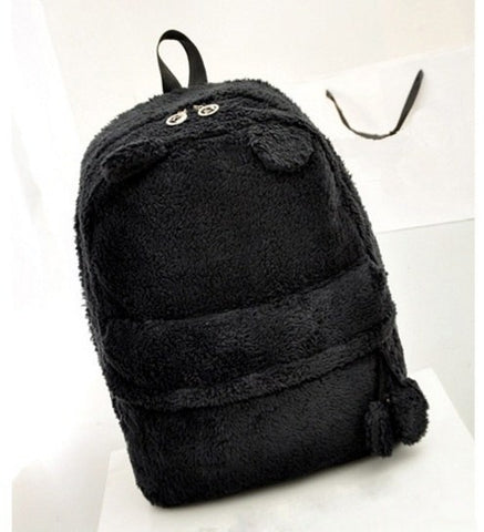 Cute fur backpack with ears - Beeredee Black