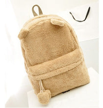 Load image into Gallery viewer, Cute fur backpack with ears - Beeredee Khaki