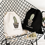Organic Cotton String backpack - Cactus Pattern - Beeredee [variant_title]