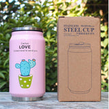 Cute Plant Thermos Mug - Stainless Steel Vacuum Flasks 300ml - Beeredee Pink