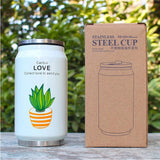 Cute Plant Thermos Mug - Stainless Steel Vacuum Flasks 300ml - Beeredee White