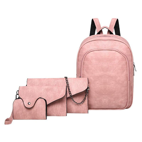 4Pcs/set Backpack/wallet/shoulder bag/clutch - Beeredee Pink / 11.81 Inches