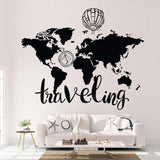 ''traveling'' World Map Wall Decal Stickers - Beeredee [variant_title]