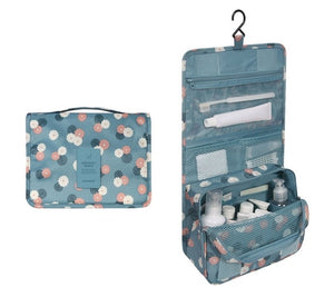 Travel Cosmetics Storage Bag  Waterproof - Beeredee light blue flowers