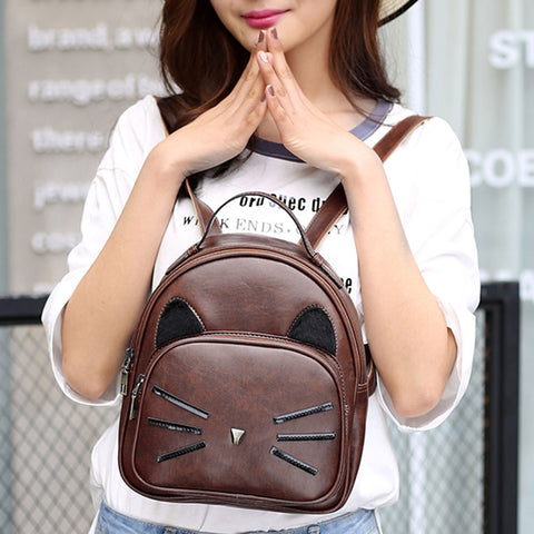 Cartoon Cute Cat  Backpacks - Pu Leather - Beeredee [variant_title]