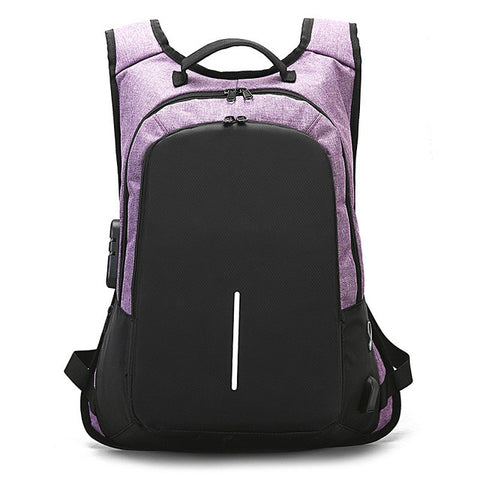 Anti-Theft Backpack with charger - Beeredee Purple