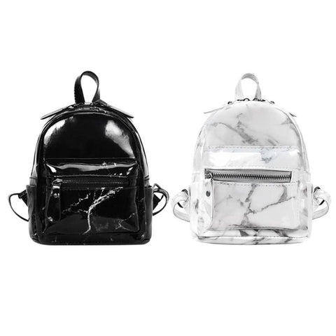 Marble Pattern Backpack - PU leather - Beeredee [variant_title]