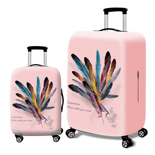 Fashion Elastic Suitcase Protective Cover - Beeredee Feather / S