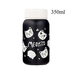 Stainless Steel Vacuum Flask cats - Beeredee 350ml Black Cats