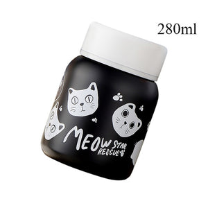Stainless Steel Vacuum Flask cats - Beeredee 280ml Black Cats