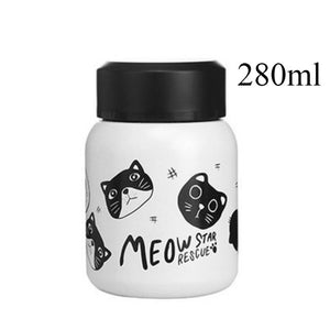 Stainless Steel Vacuum Flask cats - Beeredee 280ml White Cats