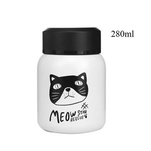 Stainless Steel Vacuum Flask cats - Beeredee 280ml white Cat